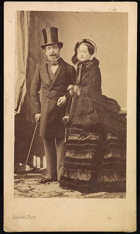 André Adolphe Eugène Disdéri, Napoleon III i Eugenia, odbitka albuminowa naklejona na tekturkę, ok. 1870