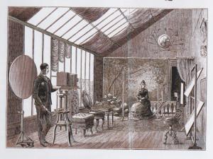 Fotograf w studio w roku 1850.